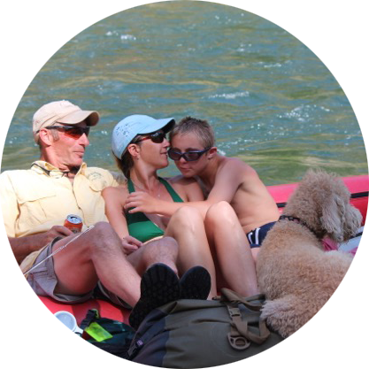 About Idaho Wilderness Company Zettel Family relaxing on the Middle Fork Salmon River